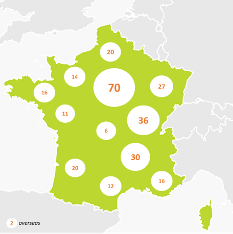 Map of end of life researchers in France 2019